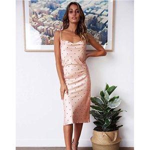 Silk Satin Pink Polka Dot Midi Dress